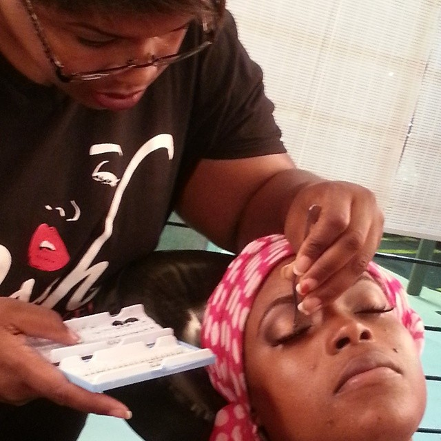 Lakeisha POSH MAKEUP ACADEMY STUDENT doing brows, individual lashes, and eye makeup
