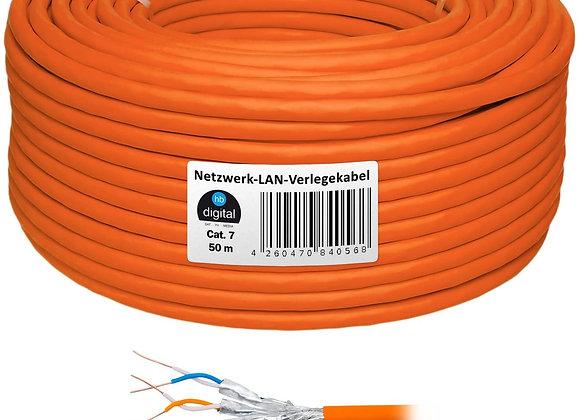 HB Digital Netzwerkkabel LAN Verlegekabel Cabel 50m cat 7 Kupfer Profi S/FTP PIM