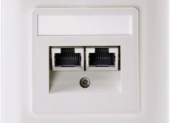 Setec Netzwerkdose Unterputz Einsatz mit Zentralplatte und Rahmen Cat 5e 2 Port
