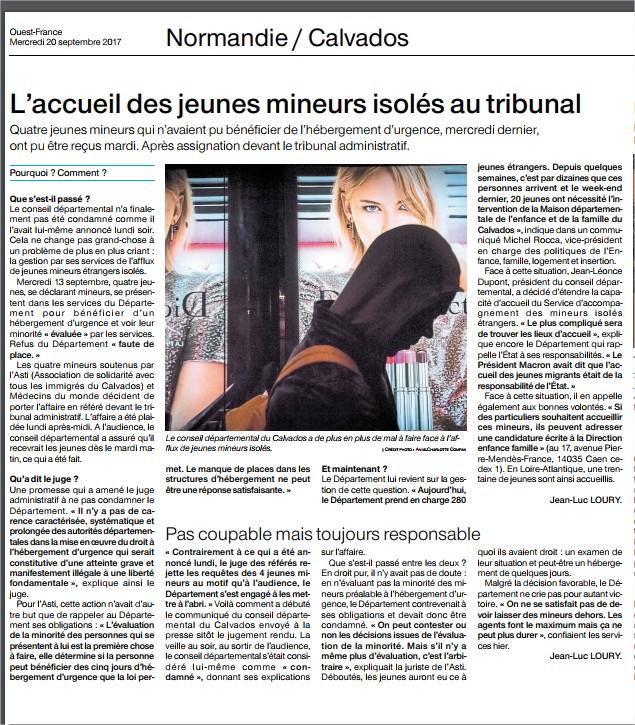 Ouest France 20 septembre 2017