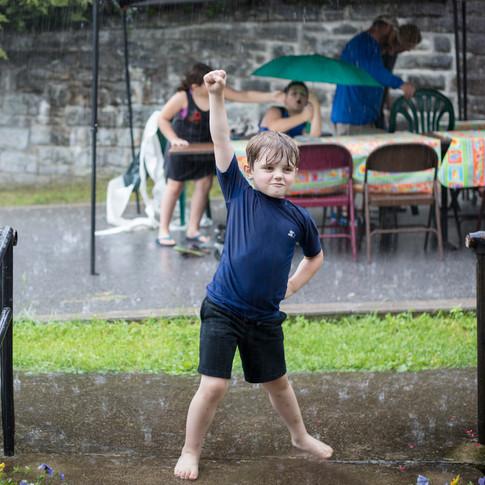 Rain didn't stop the kids from having fun!