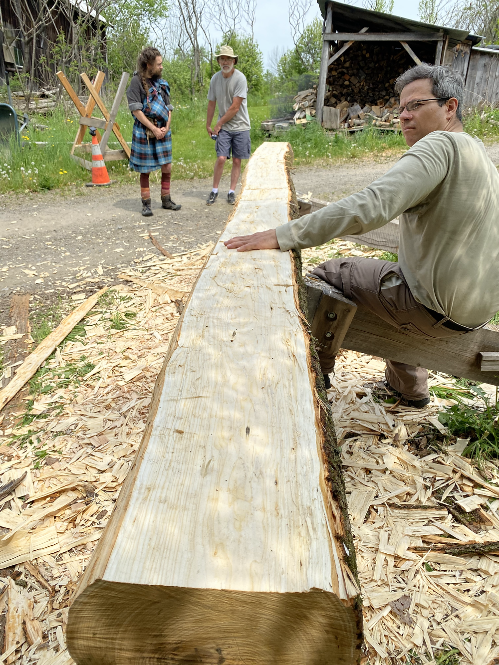 Hand Hewing a Basswood Log