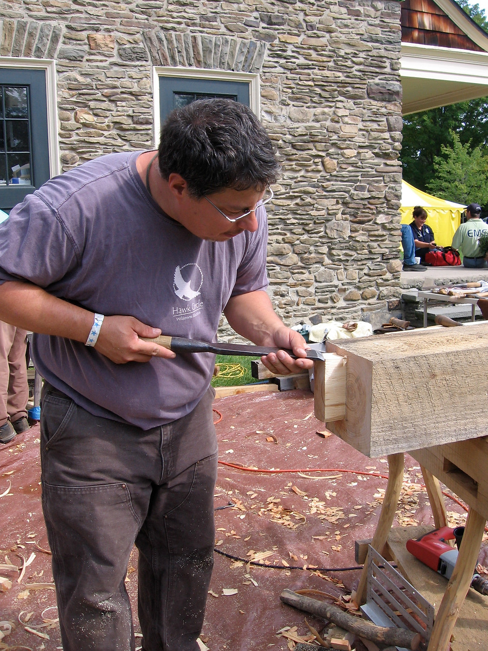 Ricardo Sierra cuts a Stub Tenon on a Post Beam