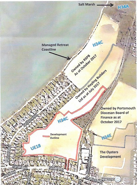 Sinah Lane Proposed Development on UE18 extending into H34C which was agreed to be undeveloped as mitigation for the Oyster's Development disturbance of wildlife.