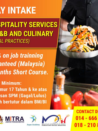 Hospitality Services in F&B and Culinary
