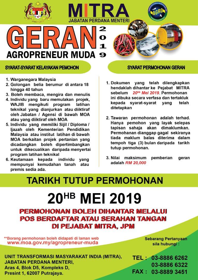 Geran Agropreneur Muda 2019