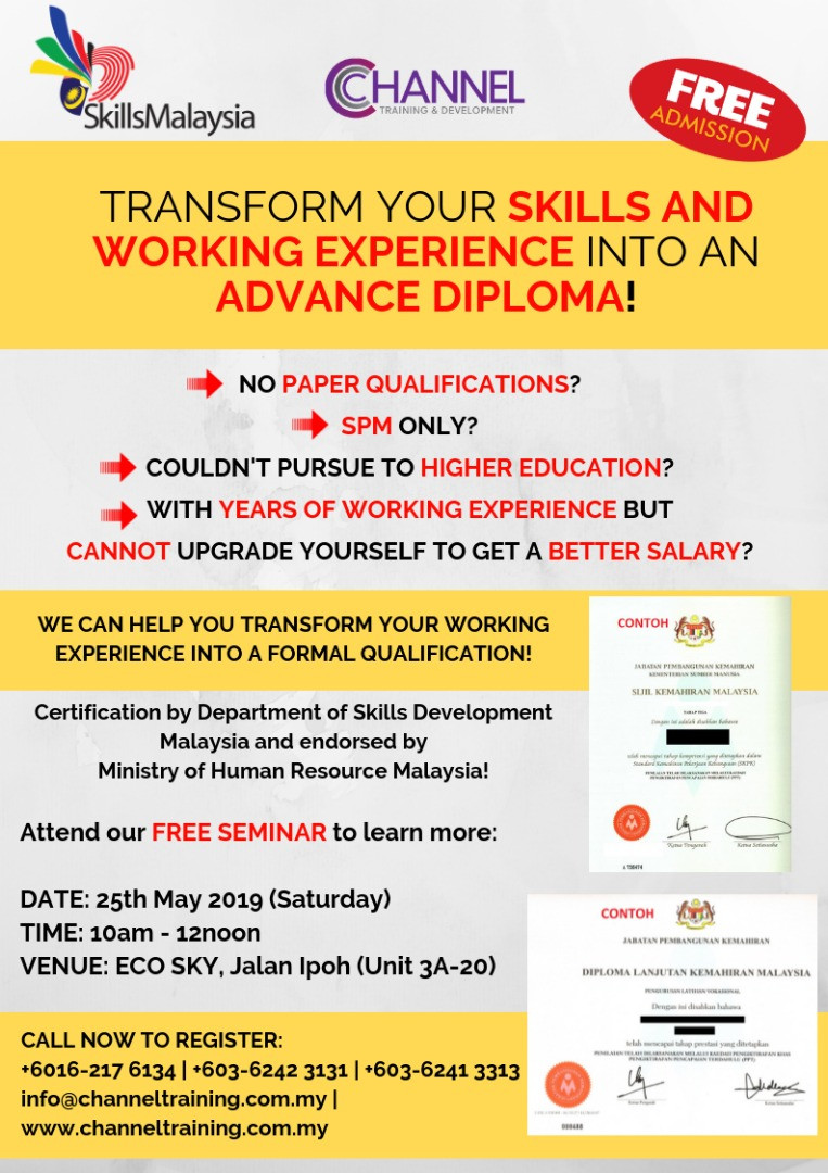 Transform work experience into formal qualification