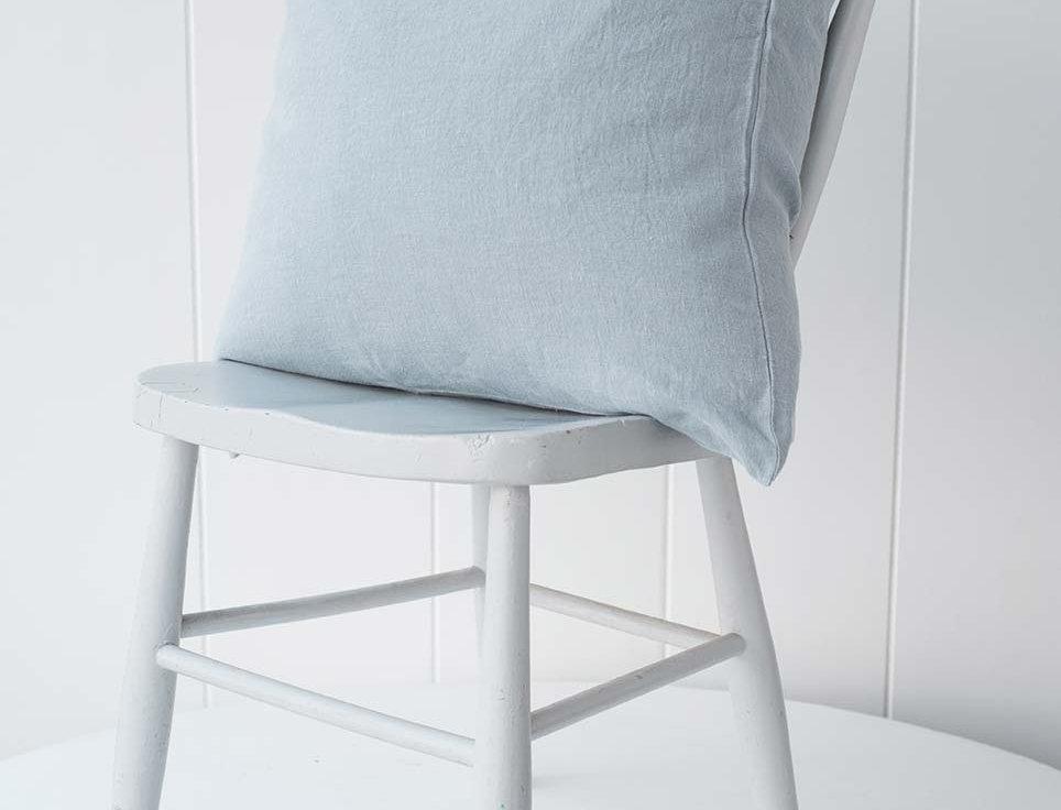 French Linen Cushion - Blue Grey