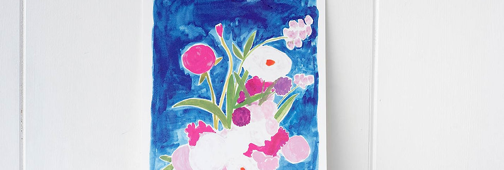 Orchids and Peonies Print
