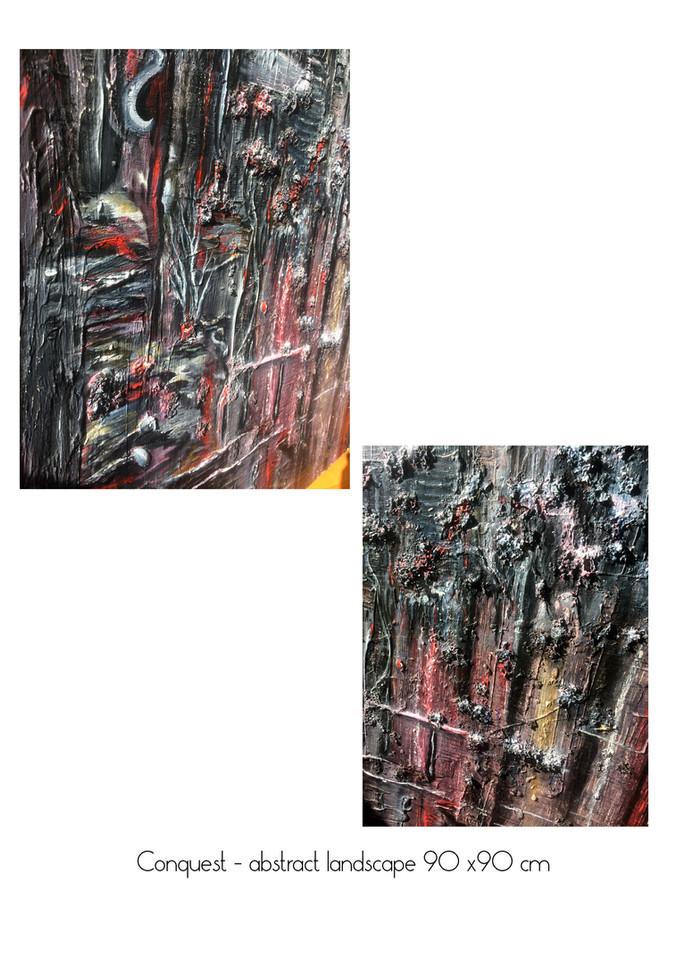 conquest abstract landscape 90 x90 cm de