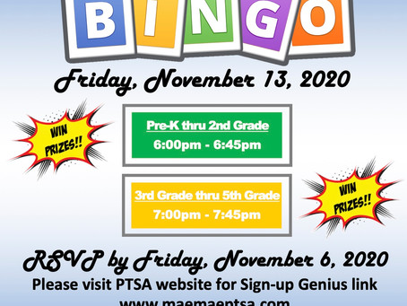 PTSA Presents Virtual Bingo!