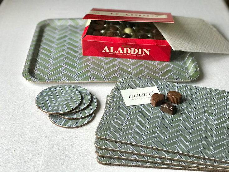Gift Set Ekotemplet: Serving Tray, Placemats, Coasters & Swedish chocolates