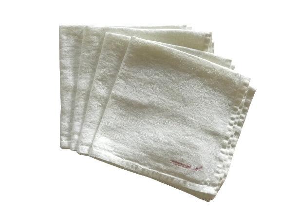 Napkin White 100% Linen Set of 4