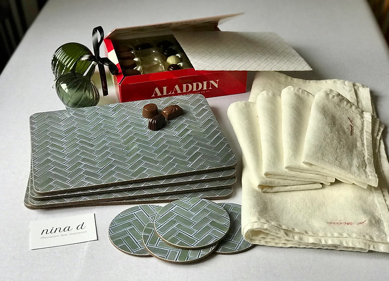 Ultimate Gift Set Ekotemplet: Placemats, Coasters, Linen & Swedish chocolates