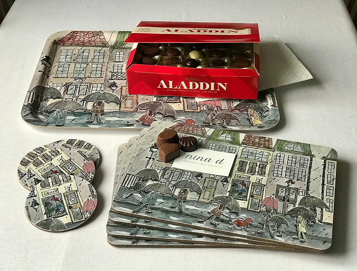 Gift Set Karlaplan: Serving Tray, Placemats, Coasters & Swedish chocolates
