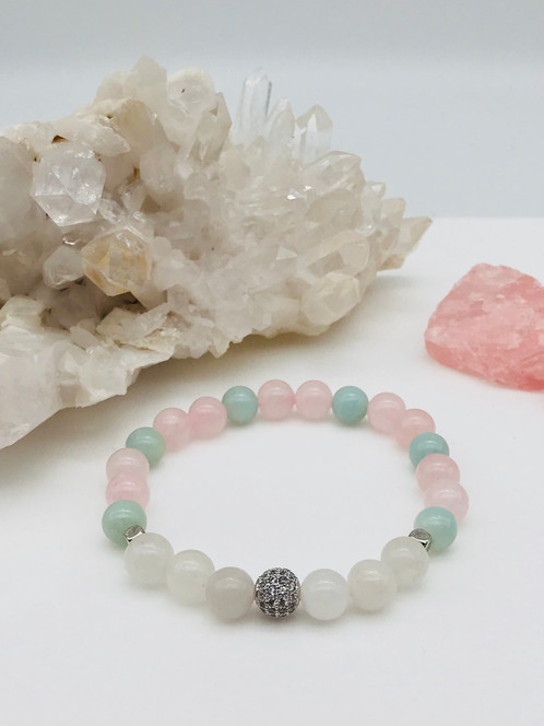 Stunning Rose Quartz Aventurine Quartzite Micro Pave Crystal Beaded Bracelet This Item Is Hand Crafted With High Quality 8mm Natural Beads