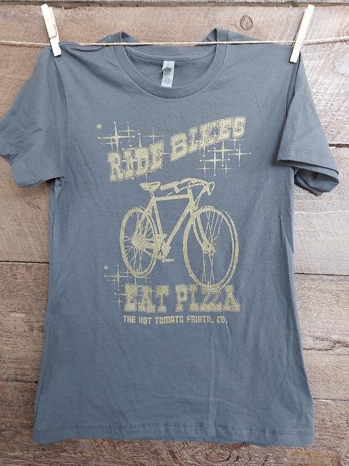 Women's Ride Bikes, Eat Pizza -Grey/Gold