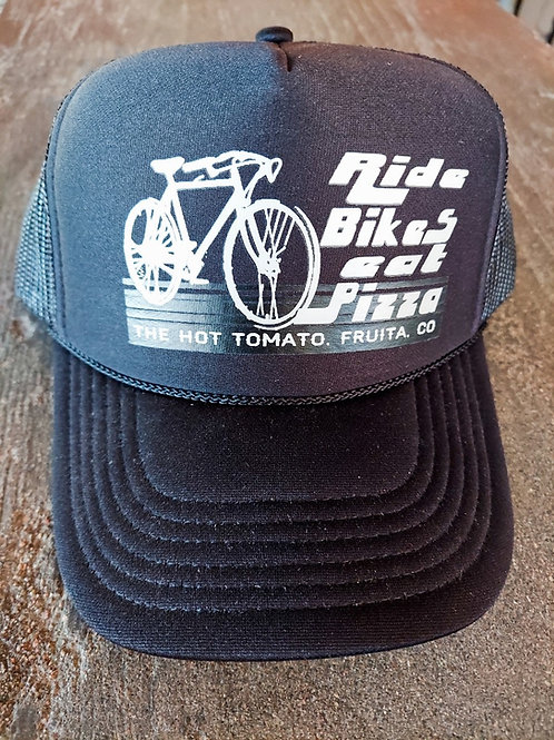 Ride Bikes Eat Pizza Trucker Hat - Black
