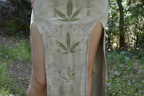 Ganja Goddess Slit Skirt OOAK EcoPrint S/M Bamboo/Hemp