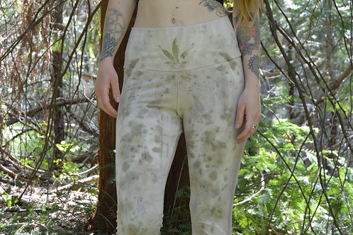 Ganja Goddess Leggings OOAK EcoPrint Medium Bamboo/Hemp