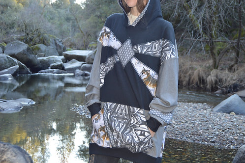 YinYang Wolf | One of a Kind Bamboo Hoodie MEDIUM