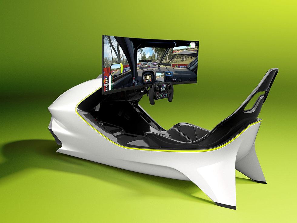 White and Lime Curv Racing Simulator