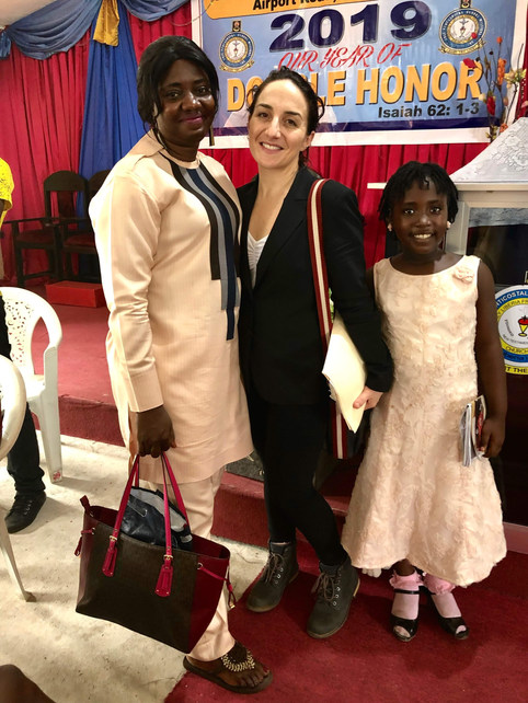 Margo Rees with friends at Free Pentecostal Global Mission of Liberia, where she preached that morning.