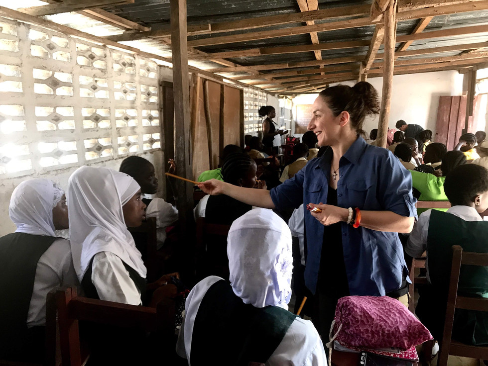 Margo Rees, Founder of Lydia House, speaks with schoolgirls about reporting and prevention of gender-based violence and sexual harassment.