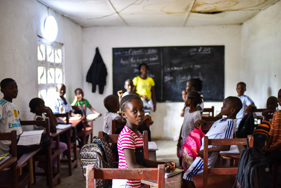 A classroom at Smart Academy school in Monrovia.