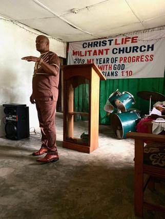 Owen Dunbar, our local partner, preaching at Christ Life Church in Paynesville