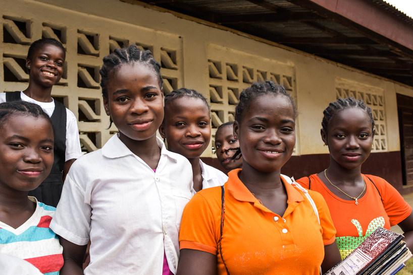 Confident school girls in Bong County.