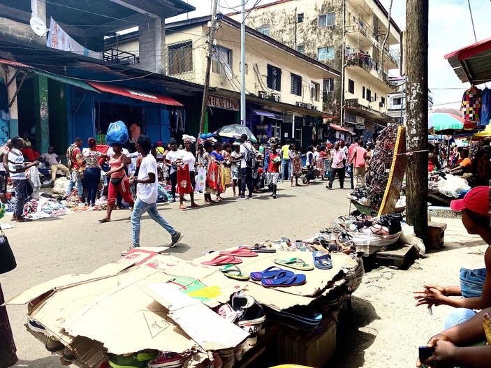 Downtown Monrovia, the capital of Liberia.