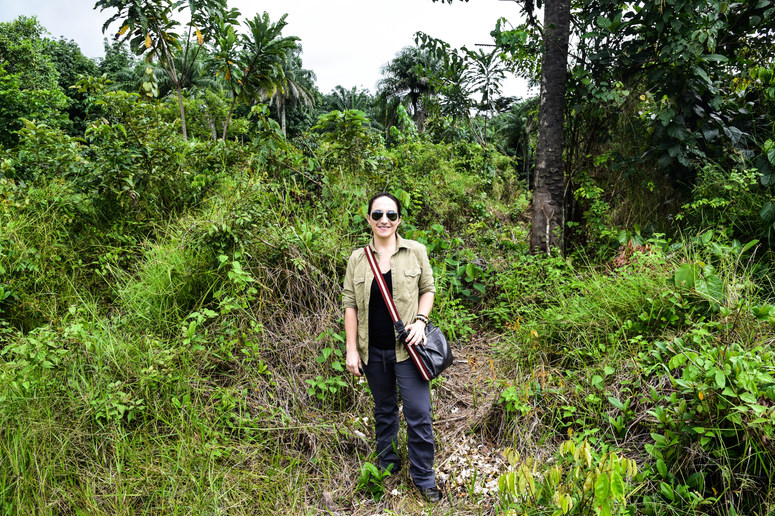 Margo Rees, Founder of Lydia House, standing on the future site of Lydia House in Bong County.