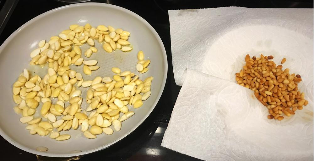 Roasting almonds for Rez a Djej