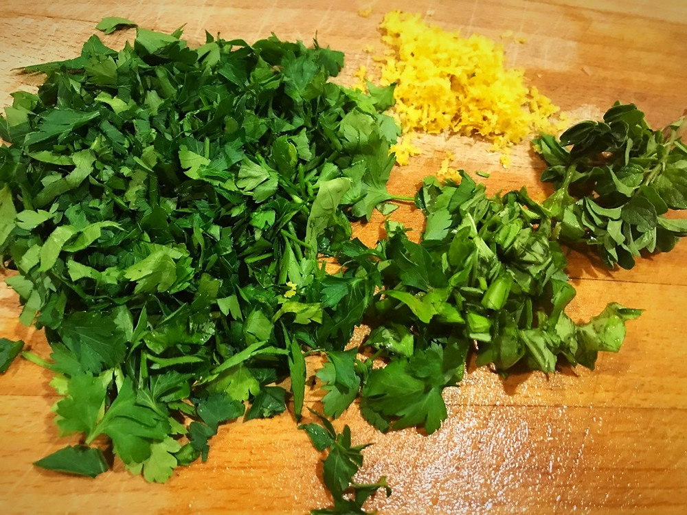 Chopped fresh herbs for Smoked Salmon Pasta in Creamy White Wine Sauce