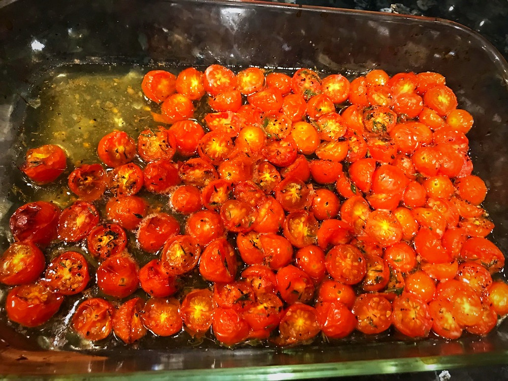 Roasted tomatoes for Salmon Pasta with Creamy White Wine Sauce