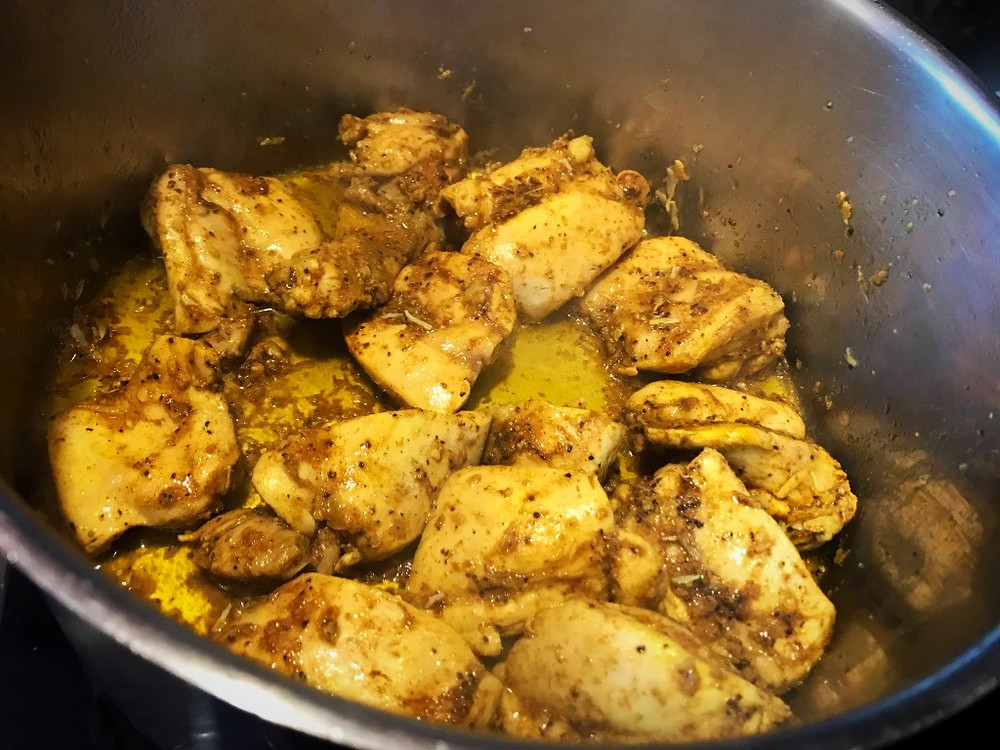 Browning chicken for Sri Lankan Chicken Curry