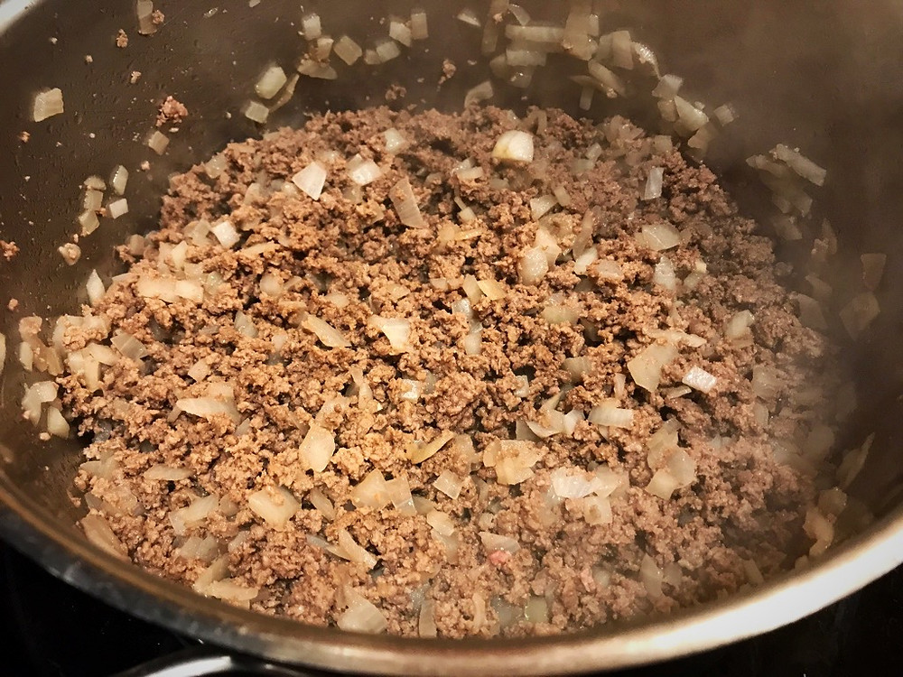 Browning meat and onion for cabbage patch stew