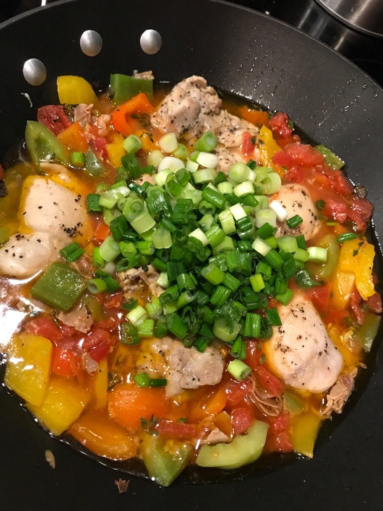 Adding scallions to pollo alla Romana