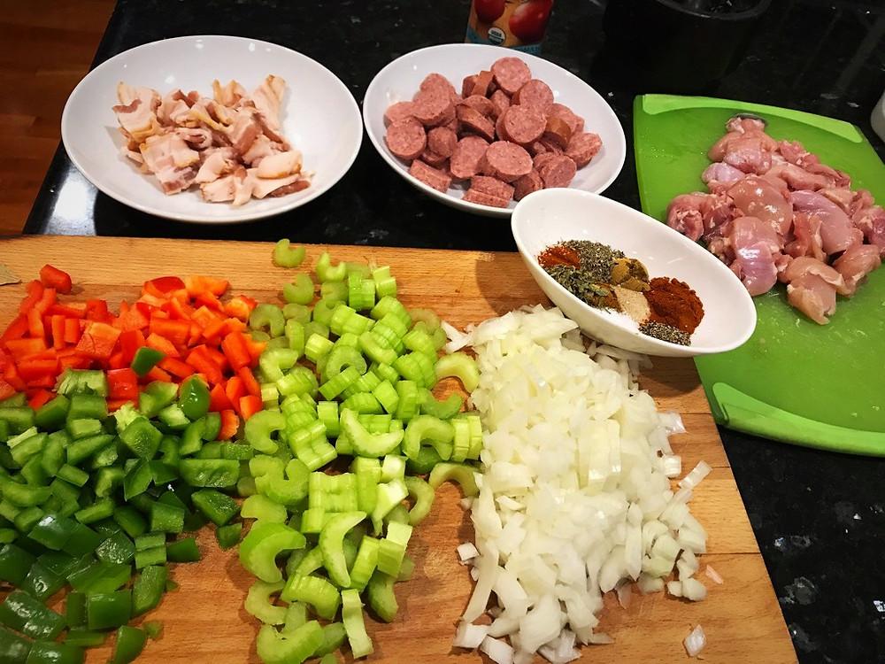 Preparing to make Jambalaya