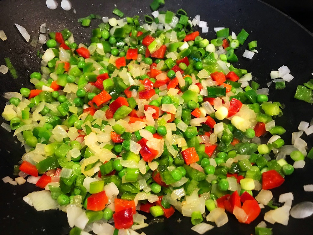 saute vegetables for chicken fried rice