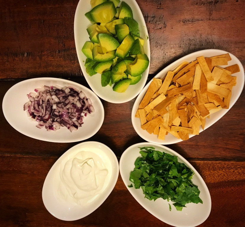Toppings to ladle on chicken tortilla soup