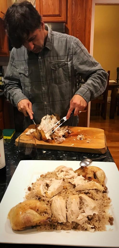 Cutting chicken for D'jej ala Rez
