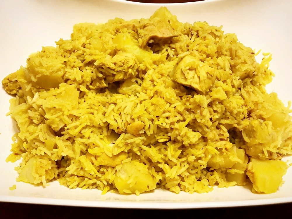 Indian Yellow Rice with Chicken and Potatoes