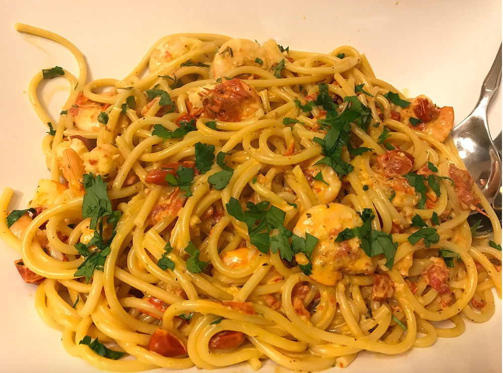 Linguine with Shrimp and Roasted Tomatoes - Tasty Dinner Recipe