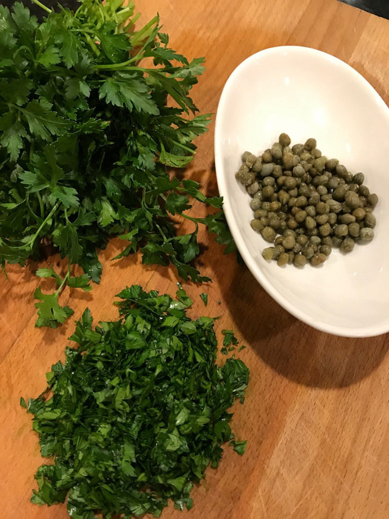 Chopping parsley for Roman Style Chicken