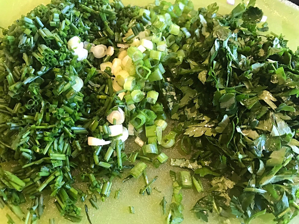 Fresh herbs for Fish Gratin - Norwegian recipe