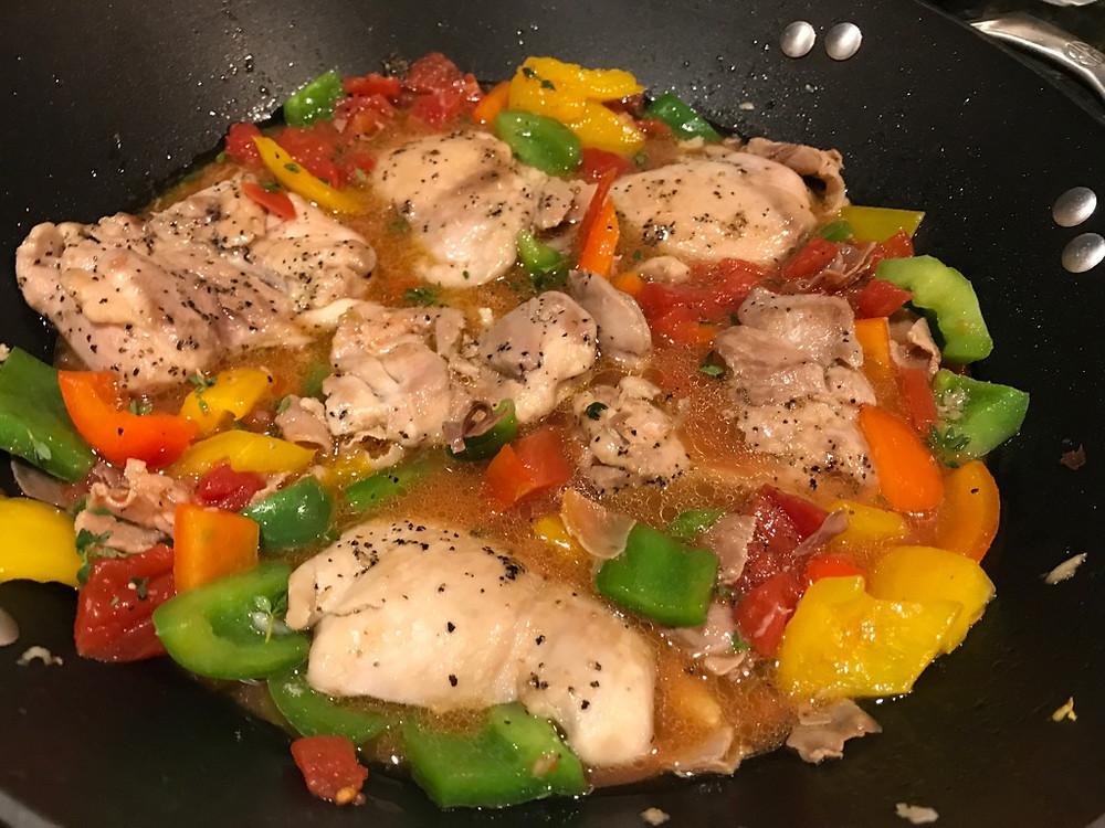Cooking Roman Style Chicken - pollo alla Romana