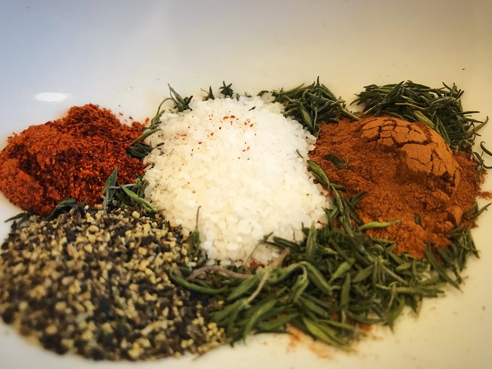 Herbs and spices for Greek Chicken Stew with Cauliflower and Olives