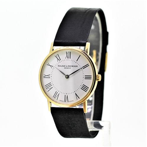 Gents Baume & Mercier Dress Watch - Solid 18k Yellow Gold - White Roman Dial